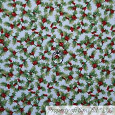 BonEful FABRIC Cotton Quilt White Green Red Holly Berry Tree Dot Xmas Sale SCRAP