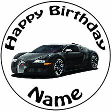"Personalised Birthday Bugatti Round 8"" Easy Precut Icing Cake Topper"
