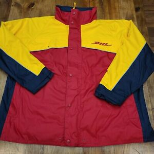 DHL Delivery Uniform Employee Mens Windbreaker Jacket Lined Color Block 2XL