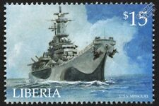 USS MISSOURI (BB-63) US Navy Iowa-Class Battleship Warship Stamp (2001 Liberia)