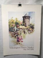 """Carolyn Anderson Wilmington Flower Market 1981 Lithograph Print 19 x 25"""""""