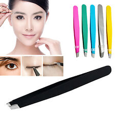 1xProfessional Eyebrow tweezers Hair Beauty Slanted Stainless Steel Tweezer Tool