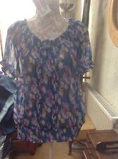 👀🌺***Papaya*** 👀@ size 20 Teal Floral Print blouse top - New WT🌺