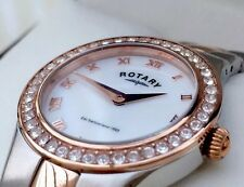 ROTARY Ladies Watch Rose Gold Plated Swarovski Ideal GIFT FOR HER New RRP£180