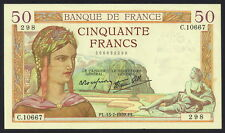 France 50 Francs #85b, SHARP, Clean Extremely Fine+ Note, RARE