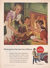 Coca Cola Ad 1952 Home Grown Fun Has Lots of Flavor - Fireplace Family & Coke