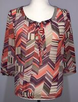 Banana Republic Womens Sheer Blouse 3/4 Sleeve Pink Purple White Size XS