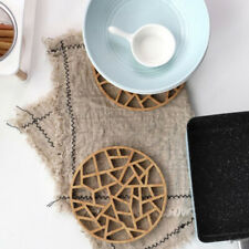 Round Bamboo Placemat Insulation Pads Coasters Hollow Wooden Pot Cup Mat MP