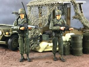 """Custom 21st Century Toys Ultimate Soldier Vietnam Soldiers 1:18 3.75"""" Lot of 2"""