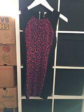 H&M Size 10 Pink Leopard Print Sleeveless Stretch Short Dress (J7)