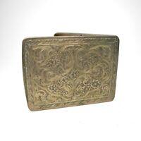 Antique 800 Sterling Silver Cigarette Case Floral Hinged
