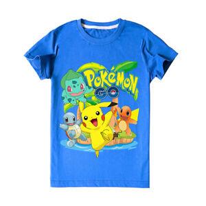 Pokémon Go Pikachu Boys Girls unisex Kids soft cotton blue T-shirt top 3 -12yrs
