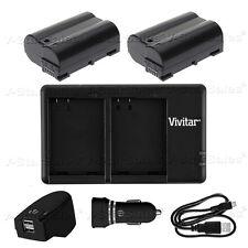 2X EN-EL15 Replacement Battery & USB Dual Charger + AC/DC for Nikon D7000 D810A