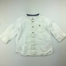 Boys size 1, H&M, white linen / cotton long sleeve shirt, roll tab sleeve, EUC