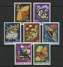 Papillons & FLEURS Jeu de 7 MNH Timbres 1974 Hongrie #2313-9