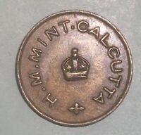 India  H. M Mint Calcutta 1/4 Anna token rare