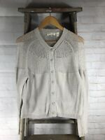 Inhabit Cotton Blend Off White Cardigan Sweater Women's Size Small S