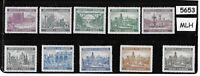 #5653  MLH complete stamp set / B a M WWII Occupation / Architecture Third Reich
