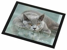 British Blue Cat 'Love You Dad' Black Rim Glass Placemat Animal Table G, DAD-2GP