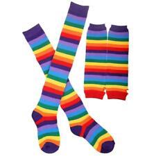 Rainbow Strips Arm Warmer Leg Stocking Colorful Thigh High Socks Gloves Set