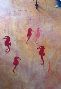 Red Sea Horse Seahorse Mobile Kinetic Art w Papers Ocean Beach Flensted Denmark