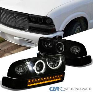 For Chevy 98-04 S10 Blazer Black Smoke Halo Projector Headlights+LED Bumper Lamp
