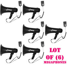 Lot of (6) Pyle PMP43IN Professional Megaphone Bullhorn W/ Siren & 3.5mm Aux I/P