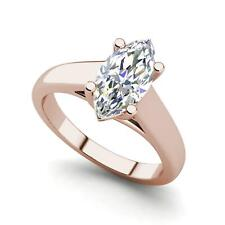 Solitaire 0.9 Carat VS2/H Marquise Cut Diamond Engagement Ring Rose Gold