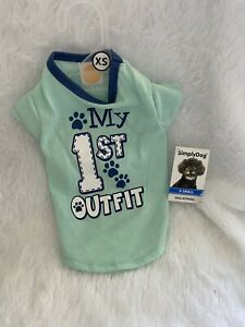 """SimplyDog: """"my 1st Outfit"""" Blue Dog T-shirt Size XS, S, M, And L"""
