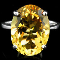 100% NATURAL 16X12MM CITRINE GENUINE GEMSTONE STERLING SILVER 925 RING SIZE 6