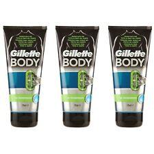 3 pezzi GILLETTE BODY Gel Transparente per Rasatura gel corpo depilazione 175ml