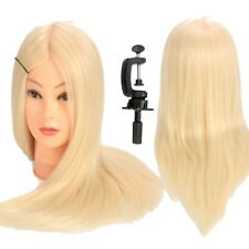 24'' 90% Real Hair Training Cosmetology Head Hairdressing Mannequin Doll + Clamp