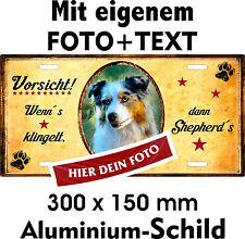 Hunde Warn Schild eigenes Foto Text  Australian Shepherd Aussie Türschild