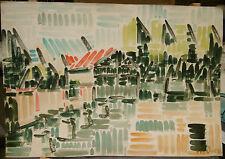 "Dessin Original Aquarelle André FILDIER  "" La Grange""  vers 1960  - F3"