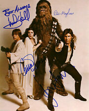 Star Wars Cast Ford Fisher Hamill & Chewbaca Autographed High Gloss 8.5x11 Photo