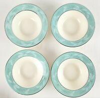 4 Vintage Homer Laughlin Romance Rimmed Fruit Berry Bowls Turquoise Silver  2k
