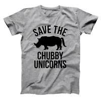 Save The Chubby Unicorns Funny  Rhino  Humor  Cute Gray Basic Men's T-Shirt