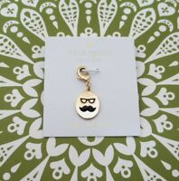 """Kate Spade Gold Plate Charm """"How Charming"""" Mustache Man w/ Glasses ~ New"""