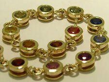 Genuine Solid 9K Yellow Gold NATURAL Rainbow Fancy Sapphire Tennis Bracelet 18cm
