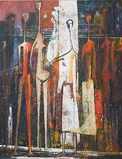 ROBERT C. ELLIS-CA/NM Cubist-Original Signed Oil-Colorful Cubist Figures