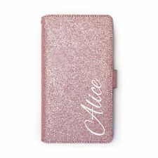 Personalised White Name On Rose Pink PU Leather Glitter Wallet Phone Case