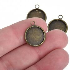 10 Bronze Charm Bezel Fits 14mm Round Cabochons bronze bezel tray chs4058
