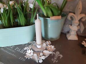 Kerzenleuchter antik weiß Kerzen Metall Ornamente Kerzenhalte Vintage und Shabby