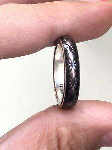 Pandora Solid Silver 925 Purple Enamel Flower Band Ring Size L