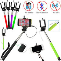New Mini Selfie Stick Monopod Mobile Phone holder Telescopic Wired Remote button