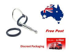Out Zone Stainless Steel Penis Plug Dual Silicone Rings 11cm Urethral Sound