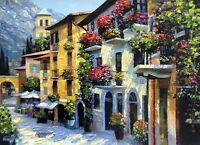 Village Hideaway by Howard Behrens Mediterranean Village Paper Art Print 22x28