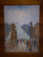 "Impressionist Oil Painting Paris Louvre Scene Art Caroline Burnett 16x12"""