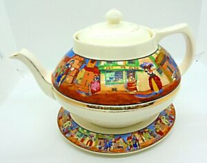 """RARE c.1920. CROWN DUCAL ART DECO """"CRIES OF LONDON"""" LARGE TEAPOT & STAND. !!!!!!"""