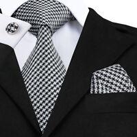 Black Classic Mens Tie White Stripe Silk Necktie Set Checks Wedding Tie C-774